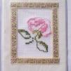 Broderade kort blommor - Rosa ros