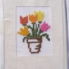 Broderade kort blommor - Tulpaner orange