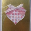 Broderade kort  Guldfärgat kort - Hjärta