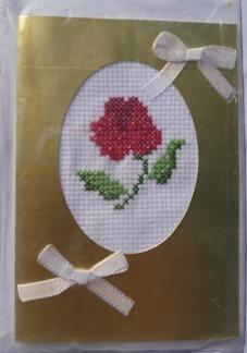 Broderade kort  Guldfärgat kort - ros