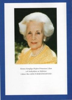*30 Augusti 1915, + 10 Mars 2013. Hennes kungliga höghet Prinsessan Lilian, beskyddare av stiftelsen mellan 1988-2013.