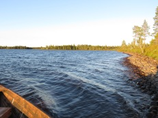 Blåsigt på Öresjön, men det högg någon öring.