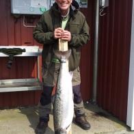 Stig Augustsen, lax, 10 kg och 93 cm. Fångad i Ösarp 23/5.