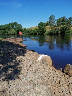 """När framförvarande fiskare nått vitmarkerad sten går nästa fiskare i. Längre bort ser ni även """"PK Hall-stenen""""."""