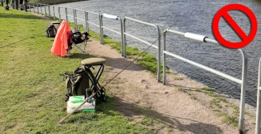To mark fishing spots with rods and backpacks etc. and then leave is not allowed.