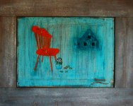 The Rib backed chair Oilcanvas 45x 50 cm