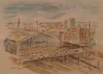 Hamburg Hauptbahnhof  Akvarel
