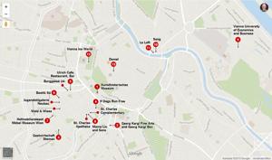 Kartbild med tips vid resan till Wien i Österrike