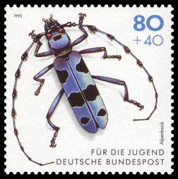 Alpbocken som motiv på ett tyskt frimärke.