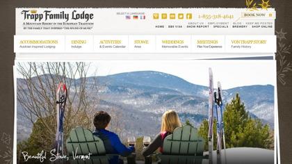 Skärmbild på hemsidan för Trapp Family Lodge