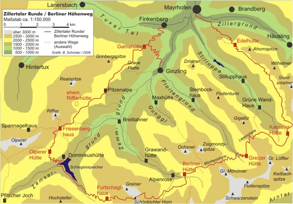 Karta med Berliner Höhenweg