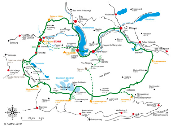 Karta över Dachstein Rundwanderweg