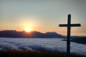 Soluppgång från toppen Sausteige mot Steinernes Meer.