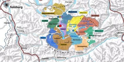 Regionen Salzkammergut ligger nära välkanda staden Salzburg. Bergmassivet Dachstein ligger i södra Salzkammergut.