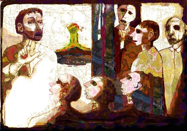 Jesus predikar på Killingholmen i norra Bohuslän