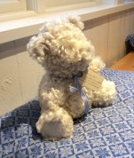 Handsydd sittande nalle, cirka 25 - 30 cm hög, barnsäker. Sydd i lammskinn av fårrasen liecester,650kr
