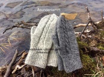Handstickade vantar - Ljusgrå tumvante