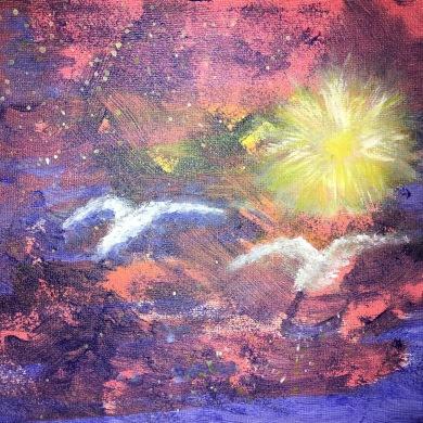 Mot solen Akryl 20 x 20 cm