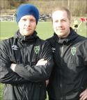 En nöjd tränarduo i SBIF efter 7-0, Adam Bergholm och Robert Olsson. Foto: Janne P, Lokalfotbollen.nu
