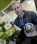Ångetränaren Benny Matsson fick ta emot priset som årets fotbollstränare i Medelpad under gårdagen. Foto: Dagbladet.