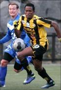Albert Kargbo gjorde hattrick för Friska Viljor mot Fröson. Foto: FV:s hemsida.