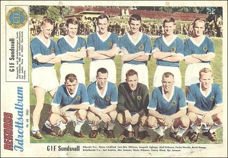 En bild på GIF Sundsvall i Rekordmagasinet från 1963. Det var i stort sett samma lag som tog sig upp i Allsvenskan via lyckosamt kvalspel året därpå och öppnade det s k Norrlandsfönstret.
