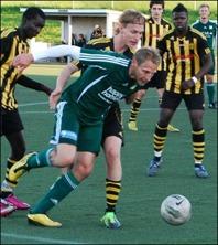 Robert Johansson nickade in ett mål och nickade fram till ett annat när Lucksta vann med 4-0 mot Svartvik uppe på Hemmanet. Arkivfoto: Janne Pehrsson, Lokalfotbollen.nu.