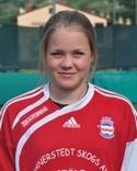 Stödes målglada anfallare Clara Högbom blir kvar trots att klubben valde divisio 3 före 2 i år.