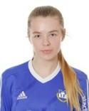 Utespelaren Ida Pettersson Nygren offrar sig för laget och har ställt sig i målet - med gott resultat.