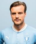 Eric Larsson i den nyare och ljusare blå nyansen på tröjan. Malmö FF:s.