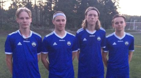 Matfors målskyttar mot Alnö från vänster: Oskar Nilsson-Böös, William Dalenius, Albin Jonsson och Alfred Boman.