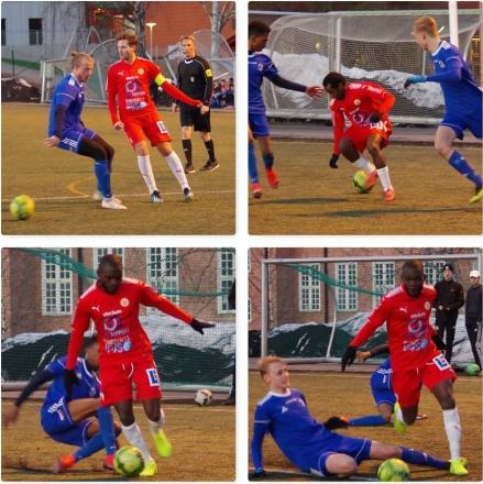 """Pelle Nyman  uppe till vänster sänkte Sollefteå med sitt hattrick. Övre bilden till höger är Israel """"Isse"""" Kalenga på dom nedre. Uppe till höger tar Abdi """"Kadde"""" Kadar emot bollen och på dom undre är Israel Kalenga i full frihet. Foto: Pia Skogman, Lokalfotbollen.nu."""