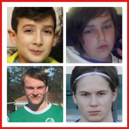 Fyra unga spelare till Sund. Övre raden fr v: Mohammed Dirawi och Robin Nymo. Nedre raden fr v: Elias Friberg och Melker Lindqvist.