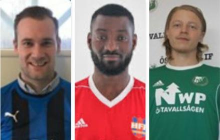 Stöde IF:s senaste nyförvärv. Från vänster: Daniel Näslund (Ljunga/Fränsta), Bamekee Touré (Härnösands FF) och Robin Cardegren (Östavalls IF).