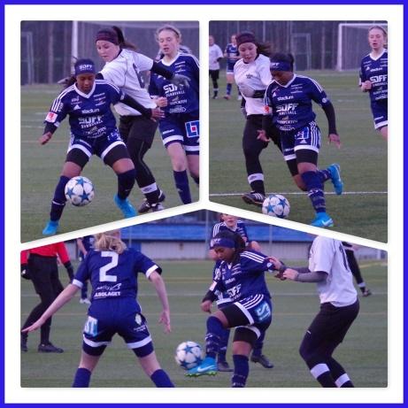 SDFF:s Merwa Idris Ahmed var hela matchen en oroshärd för Fränsta och tillhörde matchens huvudfigurer. Foto: Pia Skogman, Lokalfotbollen.nu.