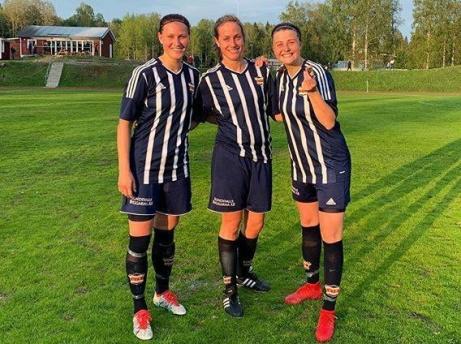 Kovlands målgörare mot Selånger 2. Fr v. Veronica Söderström, Jenny Nordenberg (2) och Erica Persson (2). Foto: Kovlands instagram