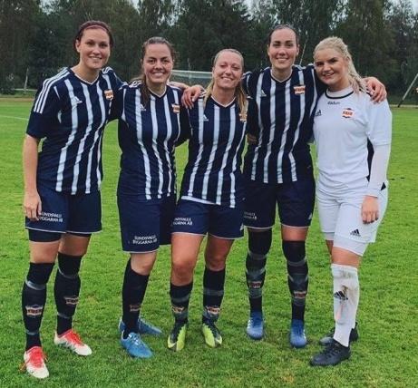 Kovlands målgörare mot Stöde i 7-0-segern. Fr v: Jenny Nordenberg, Alin Bisping (2), Emelie Birgersson (3), Ida Markström och målvakten som höll nollan, Emelie Bergh.