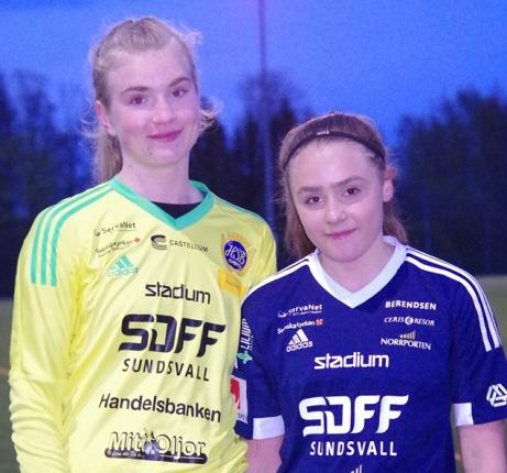 Sara-Li Pettersson Sandrud höll tätt och Nenneh Näslund Sandström satte två sena mål och fixade segern till SDFF 2 mot gästande Fränsta. Foto: Pia Skogman, Lokalfotbollen.nu.