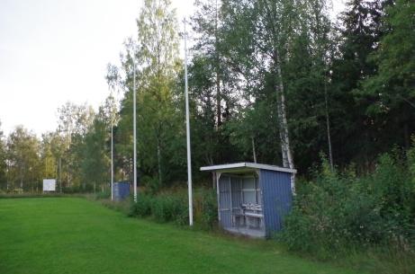 De blåvita avbytarbåsen. Foto: Pia Skogman, Lokalfotbollen.nu.
