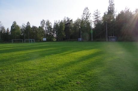 Vy över den gröna naturgräsplanen. Från vänster matchuret, avbytarbås, flaggstänger och nästa avbytarbås.  Foto: Pia Skogman, Lokalfotbollen.nu.