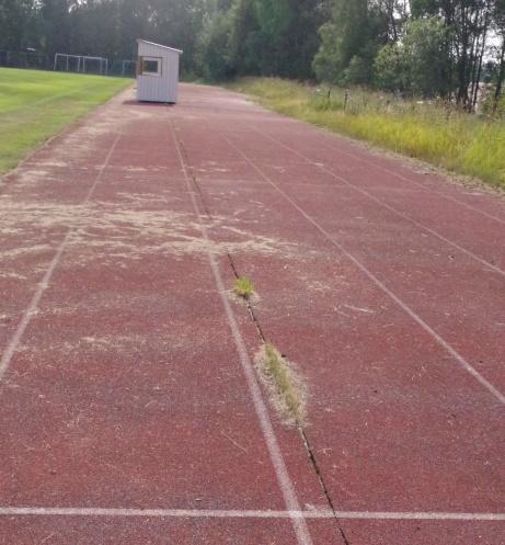 De nya avbytarbåsen i profil. Inte optimalt med banorna 1 - 3 vid löpning 100 meter. Foto: Pia Skogman, Lokalfotbollen.nu.