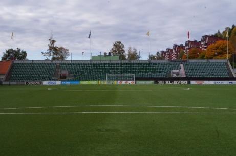 Målvaktens vy västerut. Foto: Pia Skogman, Lokalfotbollen.nu.