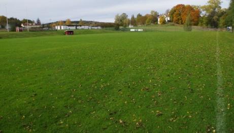 Vy från den sydöstra hörnflaggan med överblick av planen och i bakgrunden Malandsgården som till för några år sedan ägdes av Sund IF. Foto: Pia Skogman, Lokalfotbollen.nu.