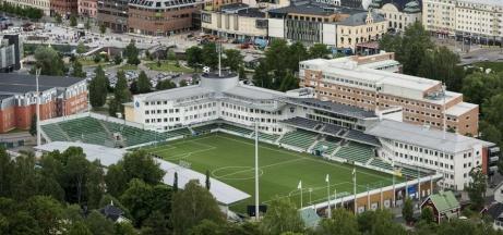 NP3 Arena sedd från Norra Berget. Kanske den elitarena som ligger närmast citykärnan i landet.