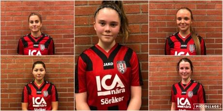 Söråkers fem nyförvärv så här långt inför division 2-debuten 2020. Josefine Jonsson (övre vänster: ), Mica Löfgren (nedre vänster), Emma Häggquist (mitten), Tess Larsson-Eriksson (övre höger) och Anna Barsch (nedre höger).