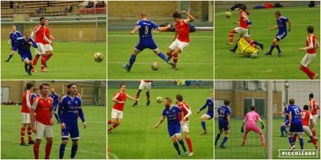 Bildkollage från 1-1-matchen i DM mellan Svartvik i rödvitt och Matfors i helblått. Foto: Pia Skogman, Lokalfotbollen.nu.