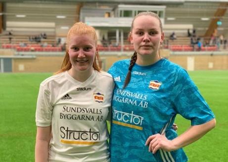 Maja Scharin satte Kovlands segerboll mot Selånger och Sara Svensson spikade igen mellan stolparna. Foto: KIF dam.