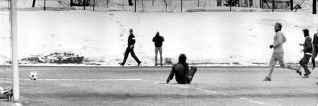 """Stockviks FF vann Värmecupen på """"hemmaplan"""" 1986. Här i segermatchen mot Söröje IF i gruppspelet. Foto: Stockviks FF."""