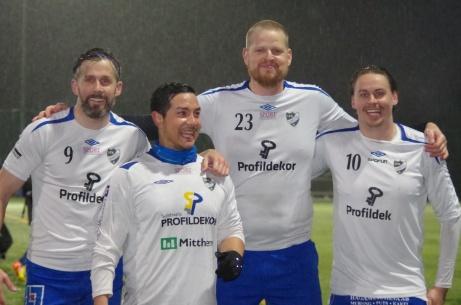 IFK Sundsvalls målgörare mot Kovland. Fr v. Olle Nordberg 2, Jonas Lundin, Johan Sundberg och Johan Hallström 2. Foto: Pia Skogman, Lokalfotbollen.nu.