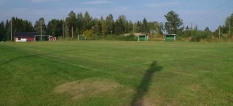 Sjumannaplanen med gräs bakom ena långsidan av A-planen. Foto: Pia Skogman, Lokalfotbollen.nu.